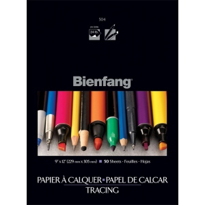 "Bienfang® 9"" x 12"" Tracing Paper Pad; Format: Pad; Quantity: 50 Sheets; Size: 9"" x 12""; Texture: Fine, Smooth; Type: Tracing; Weight: 24 lb; (model 243123), price per 50 Sheets pad"