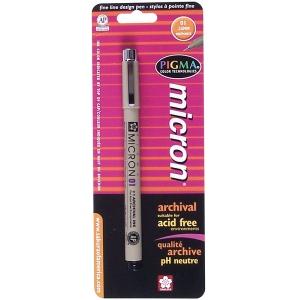 Pigma® Micron® Black Fine Line Design Pen .25mm; Color: Black/Gray; Tip Size: .25mm, .2mm; (model 30181), price per each