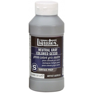 Liquitex® Colored Gesso Neutral Gray; Color: Black/Gray; Size: 8 oz; Type: Acrylic Painting, Gesso; (model 5320599), price per each