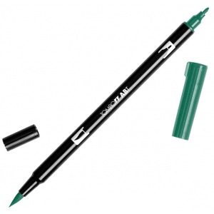 Tombow® Dual Brush® ABT Pen Hunter Green: Green, Double-Ended, Dye-Based, Brush Nib, Fine Nib, Brush Pen, (model 56528), price per each