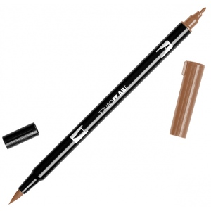 Tombow® Dual Brush® ABT Pen Saddle Brown: Brown, Double-Ended, Dye-Based, Brush Nib, Fine Nib, Brush Pen, (model 56615), price per each
