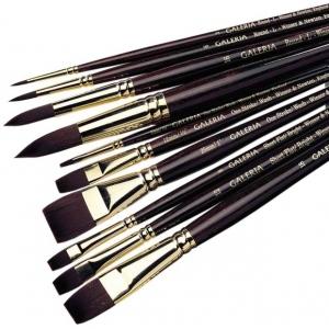"Winsor & Newton Galeria Synthetic Acrylic Brush: One Stroke, Short Handle, Size 1"""