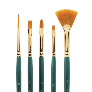 Winsor & Newton™ Regency Gold Series 500 Bright Short Handle Brush #4; Length: Short Handle; Material: Taklon; Shape: Bright; Type: Acrylic, Oil; (model 5750004), price per each