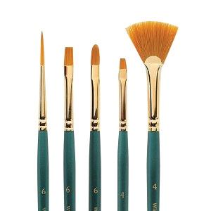 Winsor & Newton™ Regency Gold Series 550 Filbert Short Handle Brush #8: Short Handle, Taklon, Filbert, Acrylic, Oil, (model 5755008), price per each