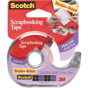 "Scotch® Scrapbooking Tape; Dispenser: Yes; Type: Double-Sided; Width: 1/2""; (model 2002), price per each"