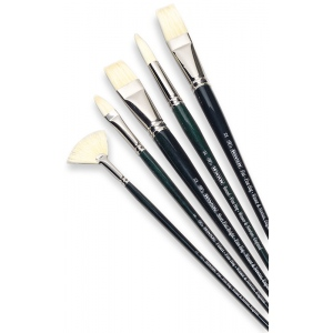 Winsor & Newton™ Winton Bright Long Handle Brush #1; Length: Long Handle; Material: Bristle, Natural Hair; Shape: Bright; Type: Oil; (model 5973701), price per each