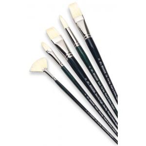 Winsor & Newton™ Winton Flat Long Handle Brush #1; Length: Long Handle; Material: Bristle, Natural Hair; Shape: Flat; Type: Oil; (model 5974701), price per each