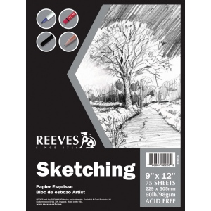 "Reeves™ 9 x 12 Sketching Pad; Binding: Fold Over; Format: Pad; Size: 9"" x 12""; Weight: 60 lb; (model 8490531), price per pad"