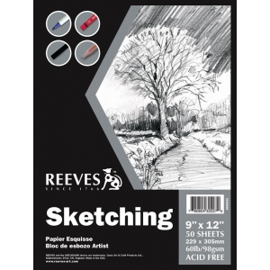 "Reeves™ 9 x 12 Sketching Pad: Wire Bound, Pad, 9"" x 12"", 60 lb, (model 8490532), price per pad"