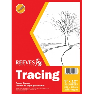 "Reeves™ 9 x 12 Tracing Pad; Format: Pad; Quantity: 50 Sheets; Size: 9"" x 12""; Weight: 25 lb; (model 8490534), price per 50 Sheets pad"