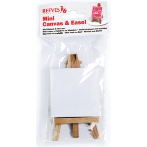 "Reeves™ Mini Canvas and Mini Easel in Poly Bag; Material: Wood; Size: 2 3/4"" x 2 3/4"", 4 3/4""; (model 8640938), price per each"