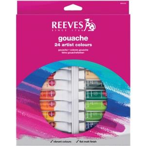 Reeves™ 10ml Gouache Watercolor Paint 24-Color Set: Multi, Tube, 10 ml, Gouache, (model 8793352), price per set