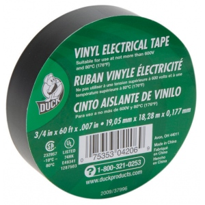 "Duck Tape® Low Lead Vinyl Electrical Tape; Color: Black/Gray; Material: Vinyl; Size: 3/4"" x 60' x .007""; Thickness: 7 mil; Type: Electrical; (model 1287503), price per each"