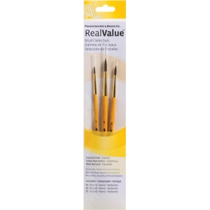 Princeton™ RealValue™ Watercolor Acrylic and Tempera Camel Brush Set; Length: Short Handle; Material: Natural; Shape: Round; Type: Acrylic, Tempera, Watercolor; (model 91000), price per set