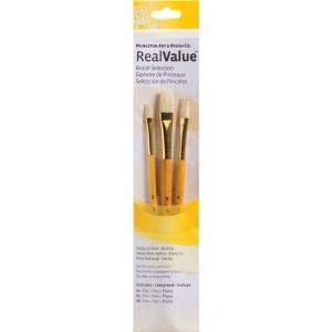 Princeton™ RealValue™ Oil Acrylic and Stain Bristle Brush Set: Short Handle, Bristle, Flat, Acrylic, Oil, Stain, (model 9104), price per set