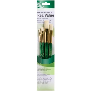 Princeton™ RealValue™ Oil Acrylic and Stain Bristle Brush Set; Length: Short Handle; Material: Bristle; Shape: Bright, Flat; Type: Acrylic, Oil, Stain; (model 9112), price per set