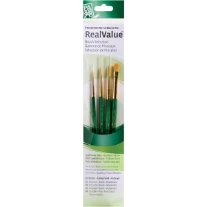 Princeton™ RealValue™ Oil Acrylic and Stain Golden Taklon Brush Set; Length: Short Handle; Material: Taklon; Shape: Round; Type: Acrylic, Oil, Stain; (model 9115), price per set