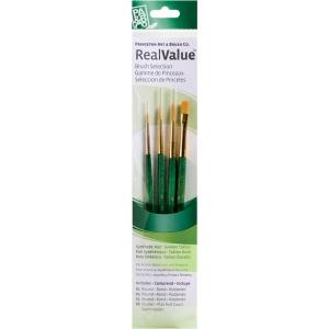 Princeton™ RealValue™ Oil Acrylic and Stain Golden Taklon Brush Set; Length: Short Handle; Material: Taklon; Shape: Round; Type: Acrylic, Oil, Stain; (model 9115), price per set