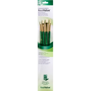 Princeton™ RealValue™ Oil Acrylic and Stain Bristle Brush Set; Length: Long Handle; Shape: Bright, Filbert, Flat, Round; Type: Acrylic, Oil, Stain; (model 9118), price per set