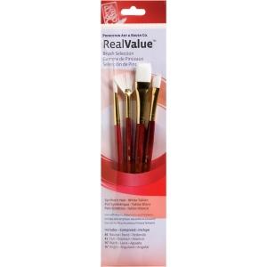Princeton™ RealValue™ Watercolor Acrylic and Tempera White Taklon Brush Set; Length: Short Handle; Material: Taklon; Shape: Angular, Fan, Round, Wash; Type: Acrylic, Tempera, Watercolor; (model 9120), price per set