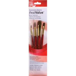 Princeton™ RealValue™ Watercolor Acrylic and Tempera Camel Brush Set: Short Handle, Natural, Round, Wash, Acrylic, Tempera, Watercolor, (model 9121), price per set