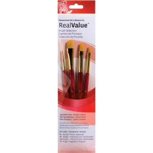 Princeton™ RealValue™ Watercolor Acrylic and Tempera Golden Taklon Brush Set; Length: Short Handle; Material: Taklon; Shape: Angular, Round, Shader; Type: Acrylic, Tempera, Watercolor; (model 9123), price per set