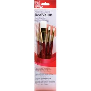 Princeton™ RealValue™ Watercolor Acrylic and Tempera White Taklon Brush Set; Length: Short Handle; Material: Taklon; Shape: Round, Shader, Wash; Type: Acrylic, Tempera, Watercolor; (model 9125), price per set