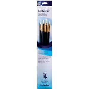Princeton™ RealValue™ Watercolor Oil Acrylic and Tempera White Taklon Brush Set; Length: Long Handle; Material: Taklon; Shape: Bright, Filbert, Flat, Round; Type: Acrylic, Oil, Tempera, Watercolor; (model 9130), price per set