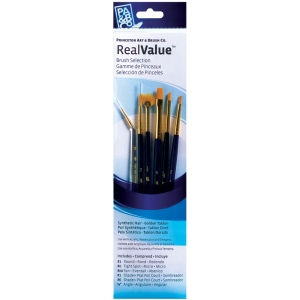 Princeton™ RealValue™ Watercolor Acrylic and Tempera Brush Golden Taklon Set: Synthetic, Angular, Fan, Round, Shader, Acrylic, Tempera, Watercolor, (model 9133), price per set