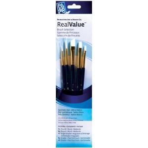 Princeton™ RealValue™ Watercolor Acrylic and Tempera White Taklon Brush Set: Short Handle, Taklon, Angular Shader, Round, Shader, Acrylic, Tempera, Watercolor, (model 9136), price per set