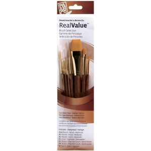 Princeton™ RealValue™ Watercolor Acrylic and Tempera Brush Golden Taklon Set; Length: Short Handle; Material: Taklon; Shape: Liner, Round, Shader; Type: Acrylic, Tempera, Watercolor; (model 9141), price per set