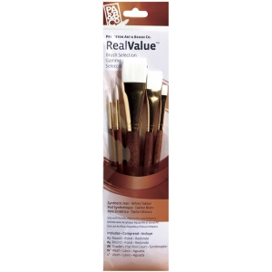 Princeton™ RealValue™ Watercolor Acrylic and Tempera White Taklon Brush Set: Short Handle, Taklon, Round, Shader, Wash, Acrylic, Tempera, Watercolor, (model 9144), price per set