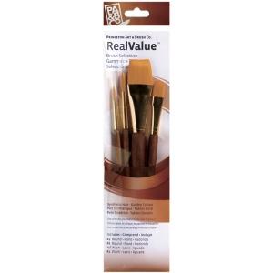 Princeton™ RealValue™ Watercolor Acrylic and Tempera Brush Golden Taklon Set; Length: Short Handle; Material: Taklon; Shape: Round, Wash; Type: Acrylic, Tempera, Watercolor; (model 9146), price per set