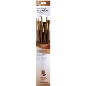 Princeton™ RealValue™ Watercolor Acrylic and Tempera White Taklon Brush Set: Long Handle, Taklon, Bright, Filbert, Flat, Round, Acrylic, Oil, Stain, (model 9147), price per set