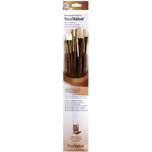 Princeton™ RealValue™ Watercolor Oil Acrylic and Tempera Sable and Bristle Brush Set: Bristle, Bright, Filbert, Flat, Round, Acrylic, Oil, Tempera, Watercolor, (model 9148), price per set