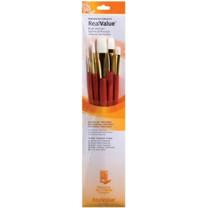 Princeton™ RealValue™ Oil Acrylic and Stain White Taklon Brush Set: Long Handle, Taklon, Bright, Filbert, Flat, Round, Acrylic, Oil, Stain, (model 9155), price per set