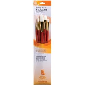 Princeton™ RealValue™ Oil Acrylic and Stain White Taklon Brush Set: Long Handle, Taklon, Bright, Filbert, Flat, Round, Acrylic, Oil, Stain, (model 9155), price per set