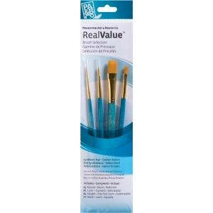 Princeton™ RealValue™ Watercolor Acrylic and Tempera Golden Taklon Brush Set; Length: Short Handle; Material: Taklon; Shape: Liner, Round, Shader, Wash; Type: Acrylic, Tempera, Watercolor; (model 9172), price per set