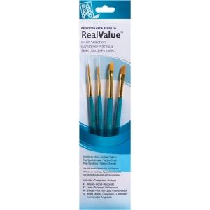 Princeton™ RealValue™ Watercolor Acrylic and Tempera Golden Taklon Brush Set; Length: Short Handle; Material: Taklon; Shape: Liner, Round; Type: Acrylic, Tempera, Watercolor; (model 9173), price per set