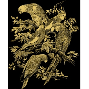 "Reeves™ Scraperfoil™ Gold Foil Birds Montage; Color: Metallic; Size: 8"" x 10""; (model PPCF19), price per each"
