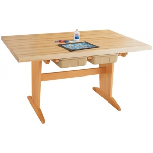 Shain Pedestal Tables: Laminate top, With tote trays