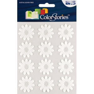 "Blue Hills Studio™ ColorStories™ Flocked Daisy Stickers White; Color: White/Ivory; Material: Flock; Size: 4 3/4"" x 5 3/4""; Type: Flat; (model BHS10706), price per each"
