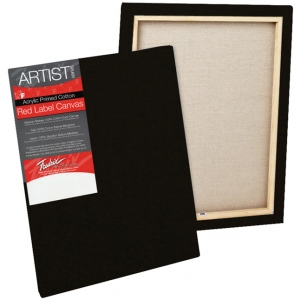 """Fredrix® Artist Series Red Label Red Label 18"""" x 24"""" Standard Stretched Black Canvas: Black/Gray, Panel, Gesso, 18"""" x 24"""", 11/16"""", 11/16"""" x 1 9/16"""", Stretched, (model T50239), price per each"""