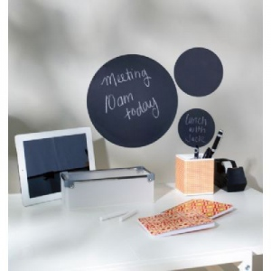 "Wallies® Peel & Stick Chalkboard Sheets Assorted Size Gray Circles 3-Pack; Color: Black/Gray; Size: 11 1/2"", 5"", 6 1/4""; Type: Chalkboard; (model WALL16047), price per set"