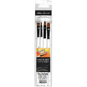 Daler-Rowney Simply Simmons Fur & Feathers 4-Brush Set: Synthetic Bristle, Acrylic, (model SS255400004), price per set