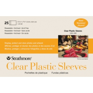 "Strathmore® Clear Plastic Sleeves: Clear, Card, 25 Sleeves, 5 7/16"" x 7 1/4"", Archival, Sleeves, (model ST105-100), price per 25 Sleeves"