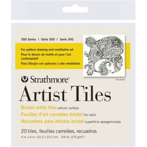 """Strathmore® 4"""" x 4"""" Bristol Artist Tiles: White/Ivory, Tile, 20 Tiles, 4"""" x 4"""", Vellum, Bristol, 100 lb, (model ST105-970), price per 20 Tiles"""