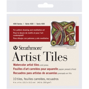 "Strathmore® 4"" x 4"" Watercolor Artist Tiles: White/Ivory, Tile, 10 Tiles, 4"" x 4"", Cold Press, Watercolor, 140 lb, (model ST105-971), price per 10 Tiles"