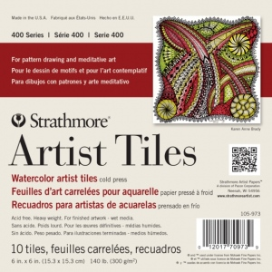 "Strathmore® 6"" x 6"" Watercolor Artist Tiles: White/Ivory, Tile, 10 Tiles, 6"" x 6"", Cold Press, Watercolor, 140 lb, (model ST105-973), price per 10 Tiles pad"