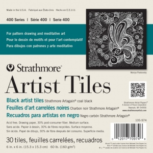 "Strathmore® Artagain® 6"" x 6"" Coal Black Artist Tiles; Color: Black/Gray; Format: Tile; Quantity: 30 Tiles; Size: 6"" x 6""; Texture: Medium; Type: Mixed Media; Weight: 60 lb; (model ST105-974), price per 30 Tiles pad"